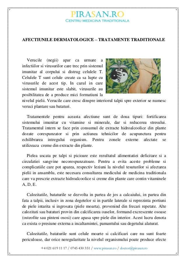 Afectiuni dermatologice - tratamente traditionale