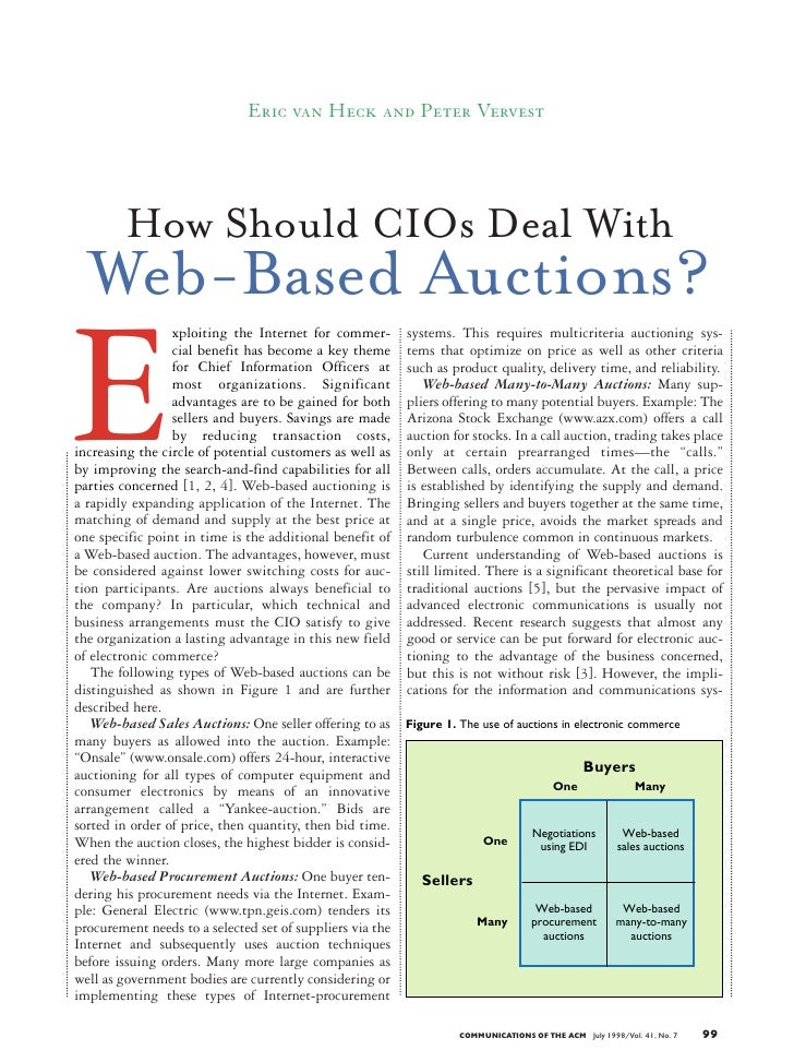 Eric van Heck and Peter Vervest              How Should CIOs Deal With   Web-Based Auctions?  E                  xploiting...