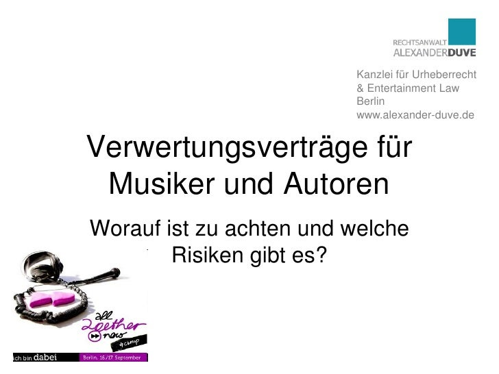 Kanzlei für Urheberrecht                          & Entertainment Law                          Berlin                     ...