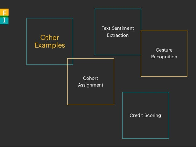 Other Examples Credit Scoring Text Sentiment Extraction Cohort Assignment Gesture Recognition