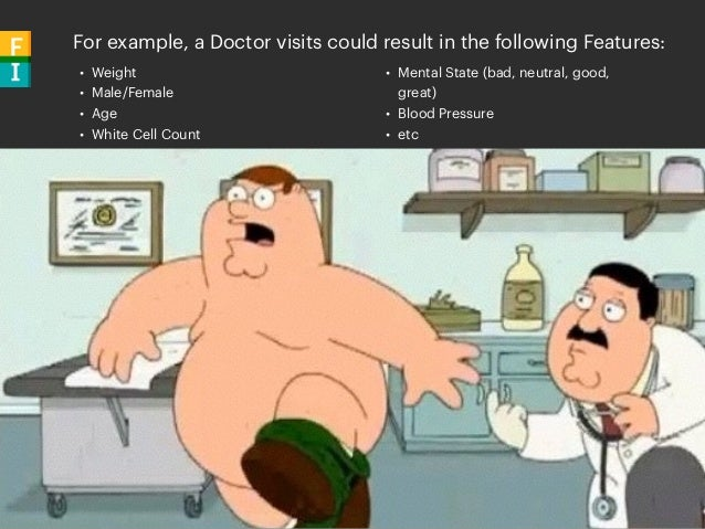 For example, a Doctor visits could result in the following Features: • Weight • Male/Female • Age • White Cell Count • Men...