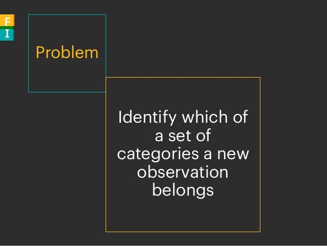 Problem Identify which of a set of categories a new observation belongs