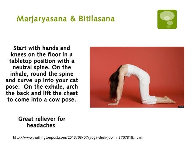 Marjaryasana & Bitilasana http://www.huffingtonpost.com/2013/08/07/yoga-desk-job_n_3707818.html Start with hands and knees...