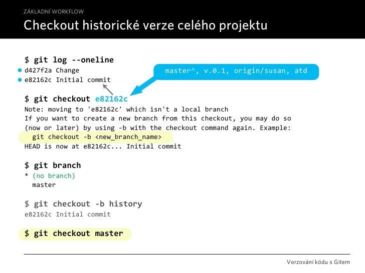 ZÁKLADNÍ WORKFLOW  Checkout historické verze celého projektu  $gitlog‐‐oneline d427f2aChange                     maste...