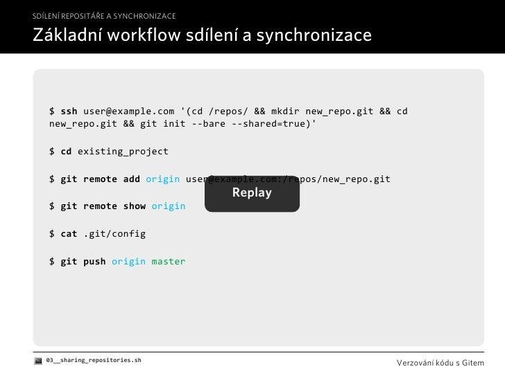 SDÍLENÍ REPOSITÁŘE A SYNCHRONIZACE  Základní workflow sdílení a synchronizace      $sshuser@example.com'(cd/repos/&&...