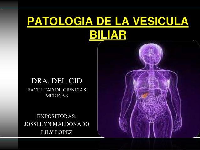 PATOLOGIA DE LA VESICULA BILIAR  DRA. DEL CID FACULTAD DE CIENCIAS MEDICAS  EXPOSITORAS: JOSSELYN MALDONADO LILY LOPEZ