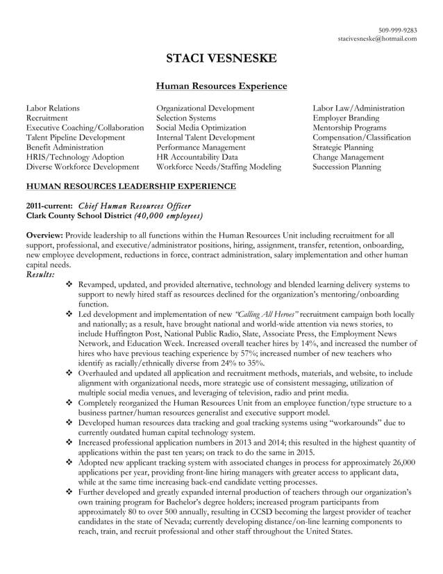 509-999-9283 stacivesneske@hotmail.com STACI VESNESKE Human Resources Experience Labor Relations Organizational Developmen...