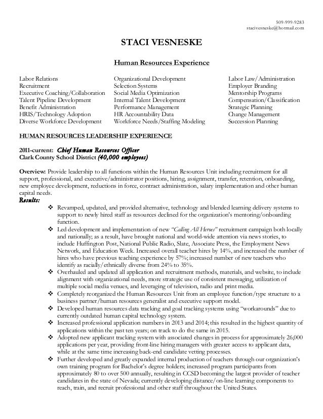 Vesneske Human Resources Resume 2016