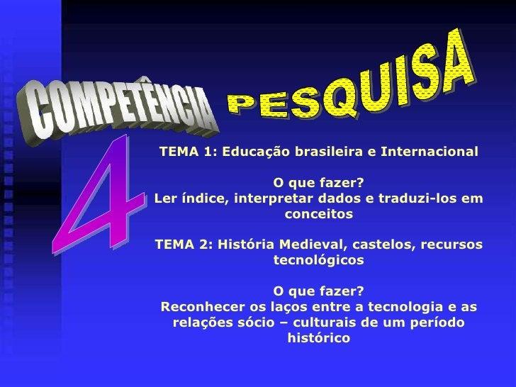 PESQUISA<br />COMPETÊNCIA<br />4<br />TEMA 1: Educação brasileira e InternacionalO que fazer?Ler índice, interpretar dados...