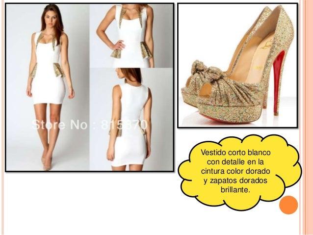 Vestido blanco y dorado de fiesta