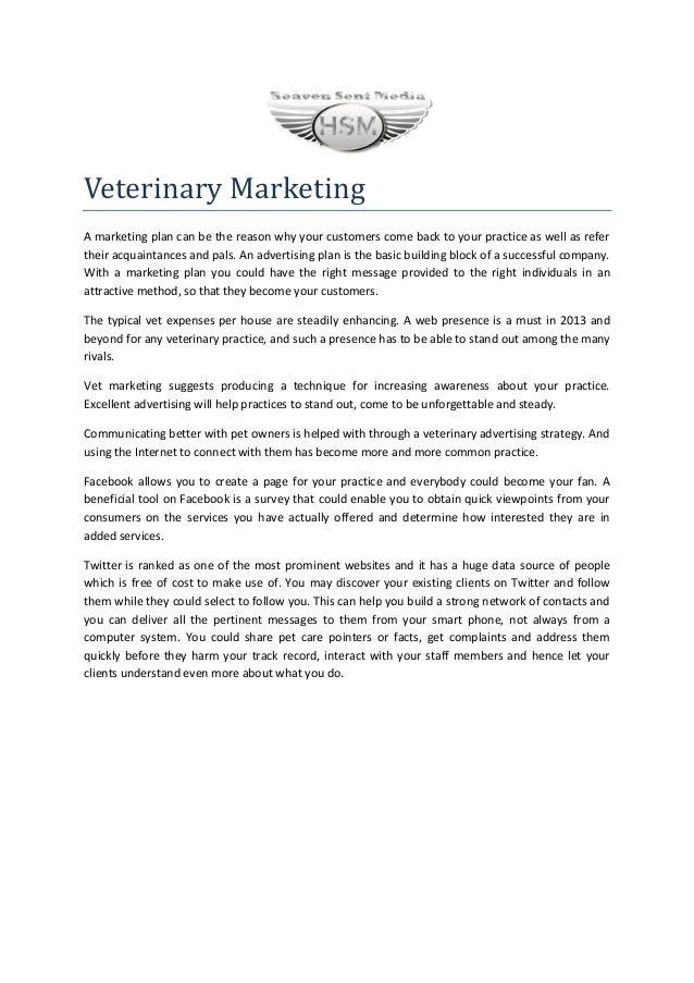 Veterinary MarketingA marketing plan can be the reason why your customers come back to your practice as well as refertheir...