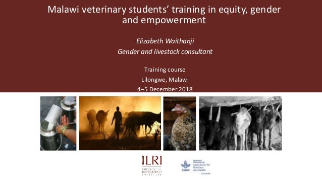 Malawi veterinary students' training in equity, gender and empowerment Elizabeth Waithanji Gender and livestock consultant...