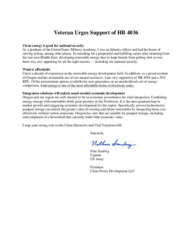 Veteran Urges Support of HB 4036 Clean energy is good for national security As a graduate of the United States Military Ac...
