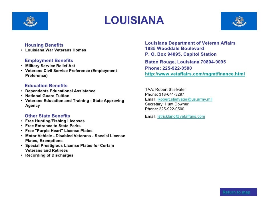 Louisiana Department Of State Civil Service : Veterans benefits by state