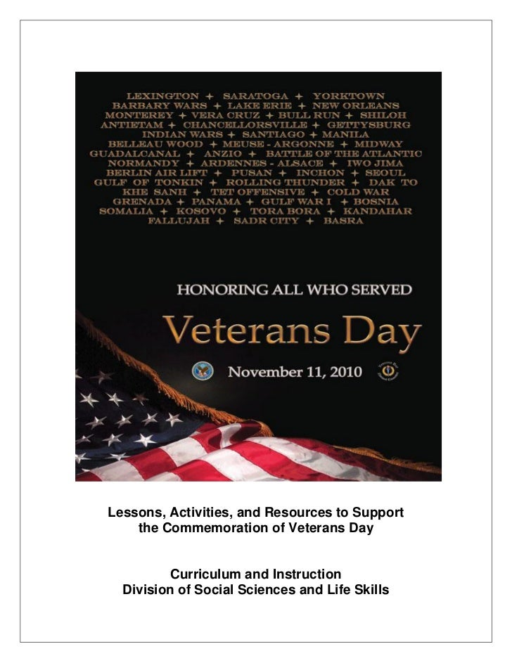 Lessons, Activities, and Resources to Support    the Commemoration of Veterans Day         Curriculum and Instruction  Div...