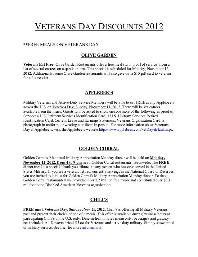 VETERANS DAY DISCOUNTS 2012**FREE MEALS ON VETERANS DAY                                        OLIVE GARDENVeterans Eat Fr...