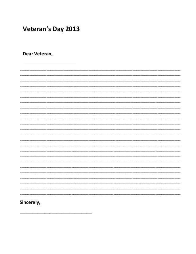Veteranu0027s Day Sample Letter 2013. Veteranu0027s Day 2013 Dear Veteran,  Example Of Letter