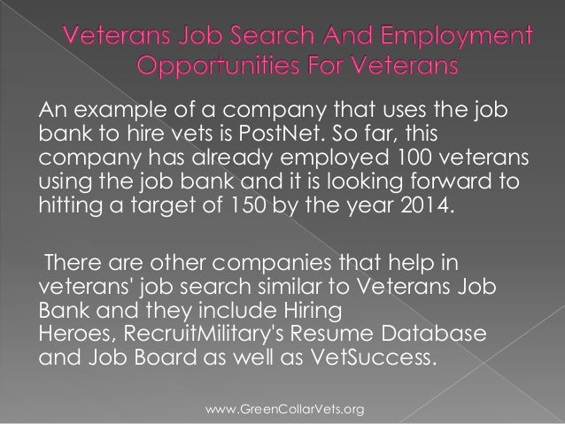 veterans job search and employment opportunities for veterans
