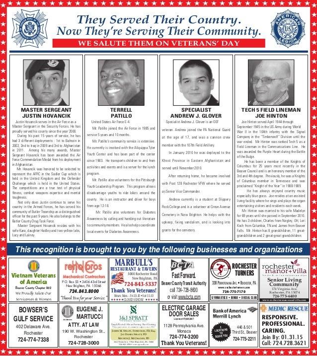 Beaver County Times Honors Veterans King Terrell of Trinity