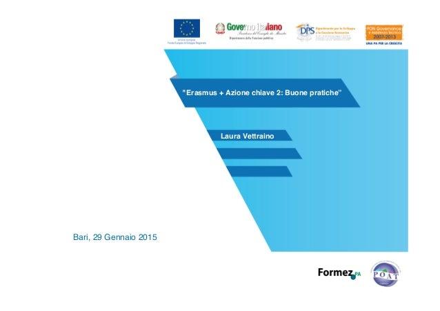 """""""Erasmus + Azione chiave 2: Buone pratiche"""" Bari, 29 Gennaio 2015 Laura Vettraino"""