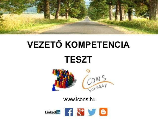 VEZETŐ KOMPETENCIA TESZT www.icons.hu
