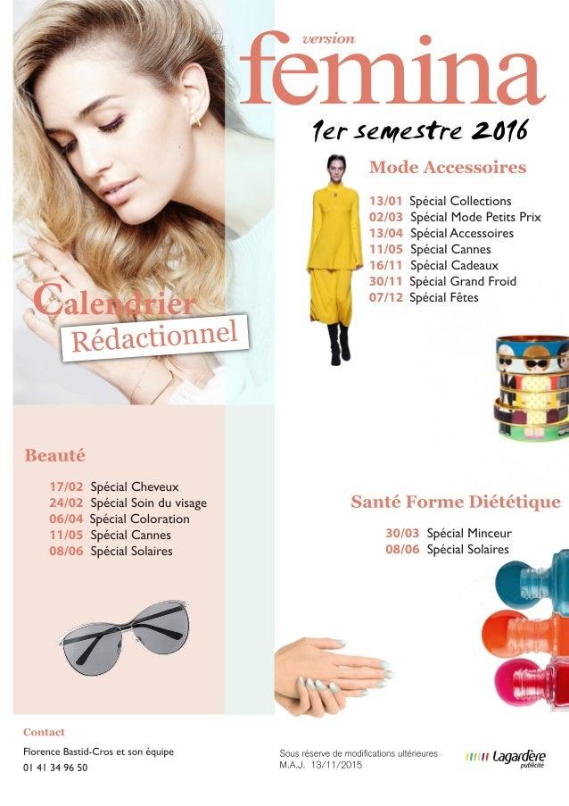 Version Femina : Calendrier Rédactionnel 2016