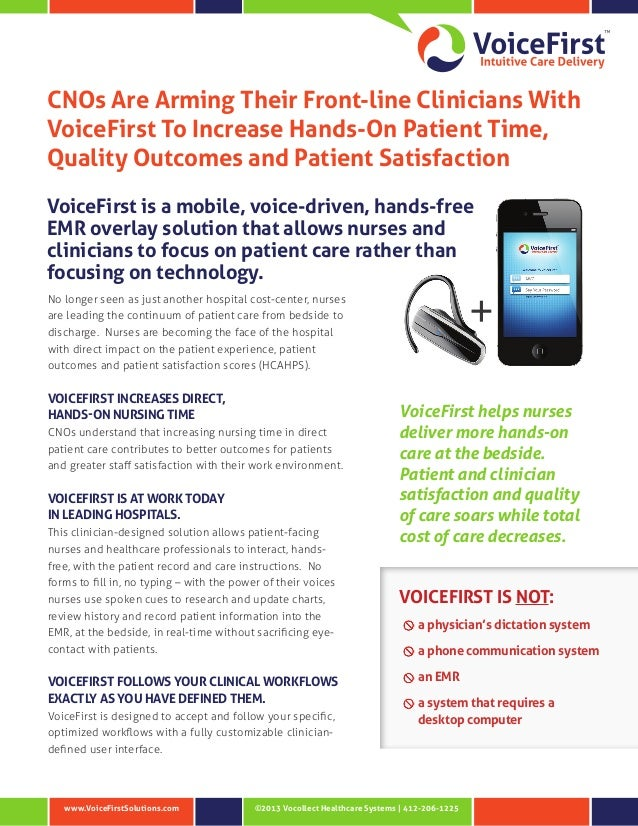 ©2013 Vocollect Healthcare Systems | 412-206-1225www.VoiceFirstSolutions.com CNOs Are Arming Their Front-line Clinicians W...