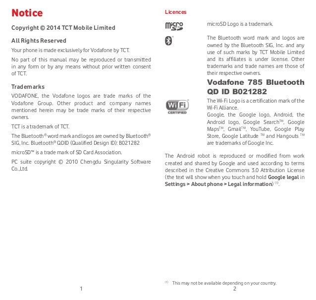 Vodafone Smart 4 mini Manual / User Guide Slide 2