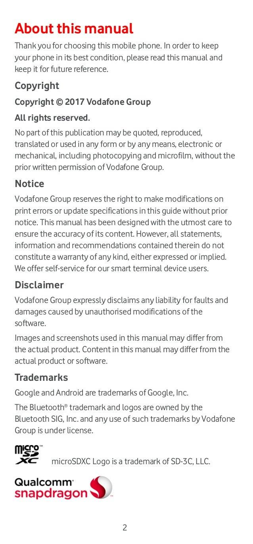 Vodafone Smart V8 Manual/User Guide Slide 2