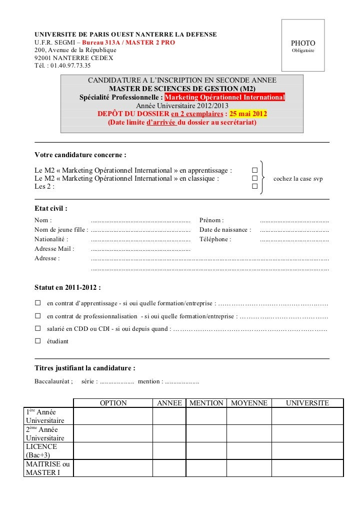 UNIVERSITE DE PARIS OUEST NANTERRE LA DEFENSE   U.F.R. SEGMI – Bureau 313A / MASTER 2 PRO                                 ...