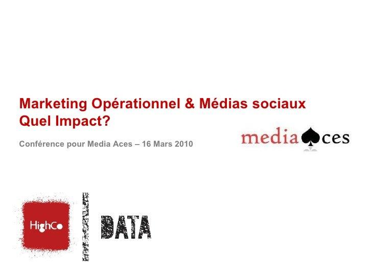 Marketing Opérationnel & Médias sociaux Quel Impact?  Conférence pour Media Aces – 16 Mars 2010