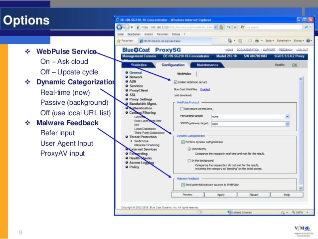 Options       WebPulse Service         On – Ask cloud         Off – Update cycle       Dynamic Categorization         Re...