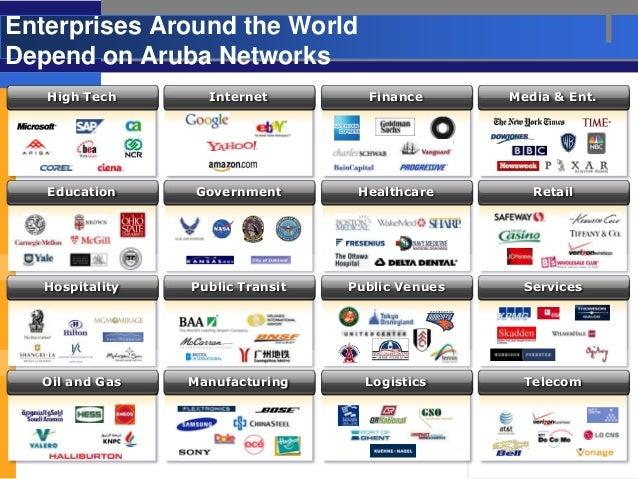 Enterprises Around the WorldDepend on Aruba Networks   High Tech       Internet         Finance       Media & Ent.   Educa...