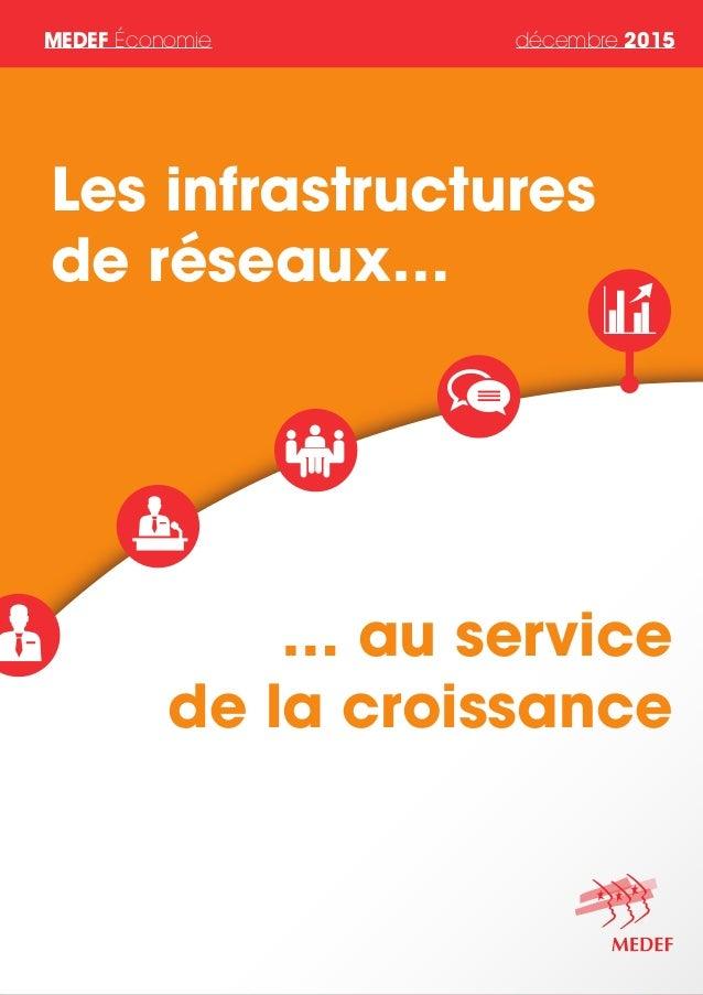 MEDEF Économie décembre 2015 … au service de la croissance Les infrastructures de réseaux…