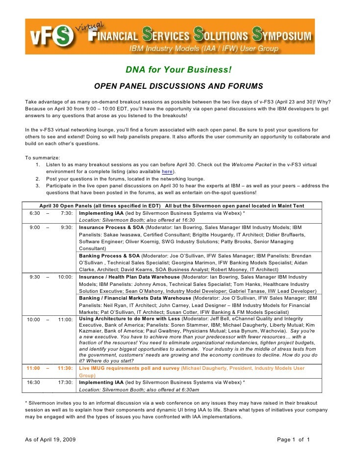 DNA for Your Business!                              OPEN PANEL DISCUSSIONS AND FORUMS Take advantage of as many on-demand ...