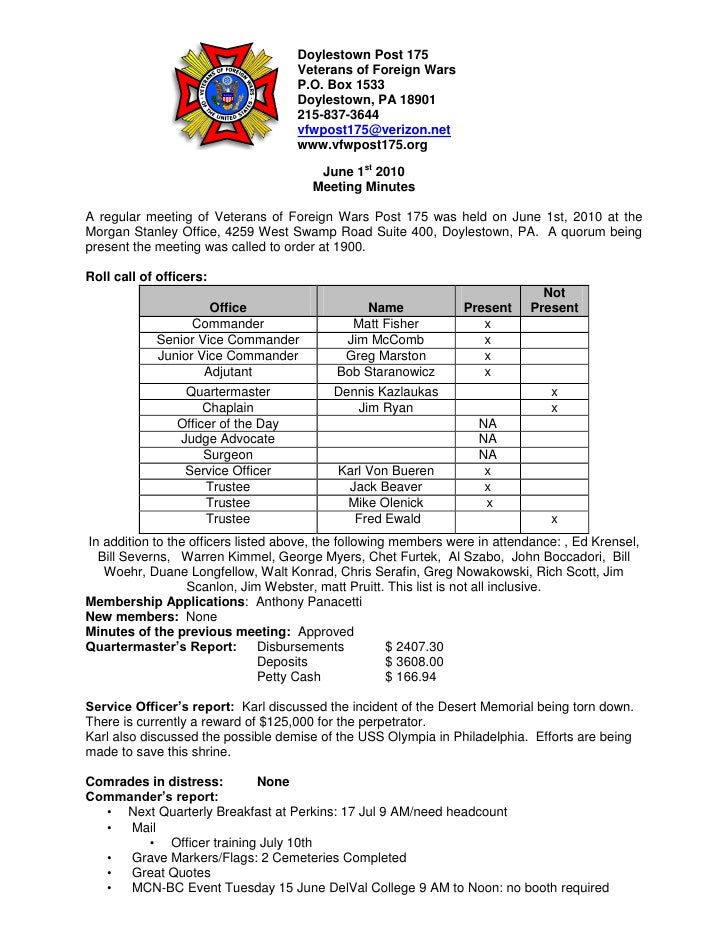 Doylestown Post 175                                      Veterans of Foreign Wars                                      P.O...