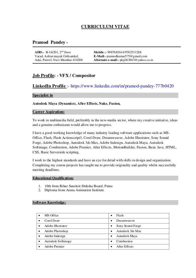 CURRICULUM VITAE Pramod Pandey - ADD:- B-16/201, 2nd floor Varad, Ashtavinayak Grihsankul, Adai, Panvel, Navi Mumbai-41020...