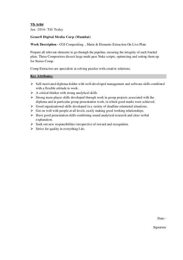 Vfx Artist Resume