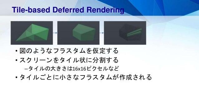 • 図のようなフラスタムを仮定する • スクリーンをタイル状に分割する –タイルの大きさは16x16ピクセルなど • タイルごとに小さなフラスタムが作成される Tile-based Deferred Rendering