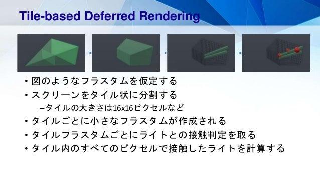 • 図のようなフラスタムを仮定する • スクリーンをタイル状に分割する –タイルの大きさは16x16ピクセルなど • タイルごとに小さなフラスタムが作成される • タイルフラスタムごとにライトとの接触判定を取る • タイル内のすべてのピクセルで...