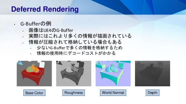Deferred Rendering • G-Bufferの例 – 画像はUE4のG-Buffer – 実際にはこれより多くの情報が描画されている – 情報が圧縮されて格納している場合もある • 少ないG-Bufferで多くの情報を格納するため...