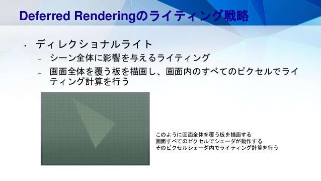 Deferred Renderingのライティング戦略 • ディレクショナルライト – シーン全体に影響を与えるライティング – 画面全体を覆う板を描画し、画面内のすべてのピクセルでライ ティング計算を行う このように画面全体を覆う板を描画する...