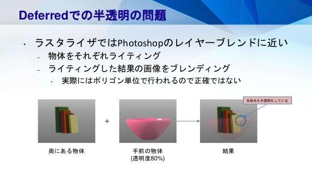 Deferredでの半透明の問題 • ラスタライザではPhotoshopのレイヤーブレンドに近い – 物体をそれぞれライティング – ライティングした結果の画像をブレンディング • 実際にはポリゴン単位で行われるので正確ではない + 奥にある物...