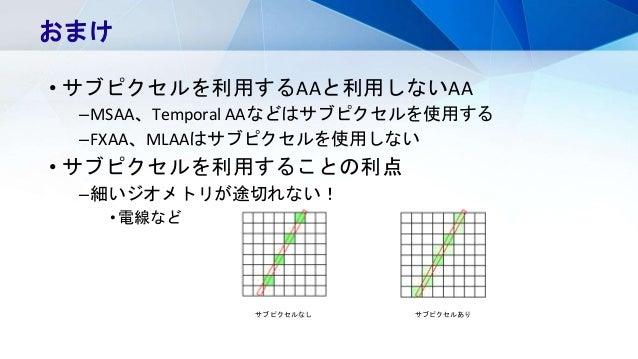 • サブピクセルを利用するAAと利用しないAA –MSAA、Temporal AAなどはサブピクセルを使用する –FXAA、MLAAはサブピクセルを使用しない • サブピクセルを利用することの利点 –細いジオメトリが途切れない! •電線など お...