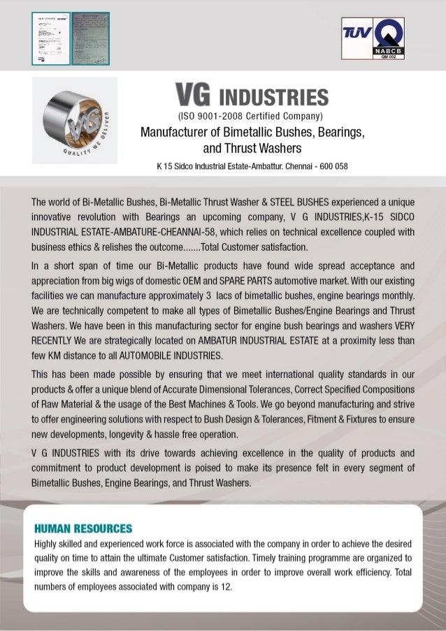 VG Industries, Chennai, Bearing & Bush