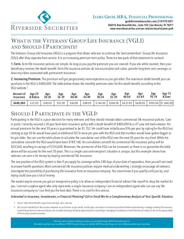 WHAT IS THE VETERANS' GROUP LIFE INSURANCE (VGLI) AND ...