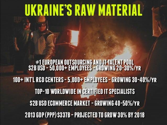 UKRAINE'SRAWMATERIAL #1EUROPEANOUTSOURCINGANDITTALENTPOOL $2BUSD-50,000+EMPLOYEES-GROWING20-30%/yr 100+INT'LR&DCENTERS-5,0...