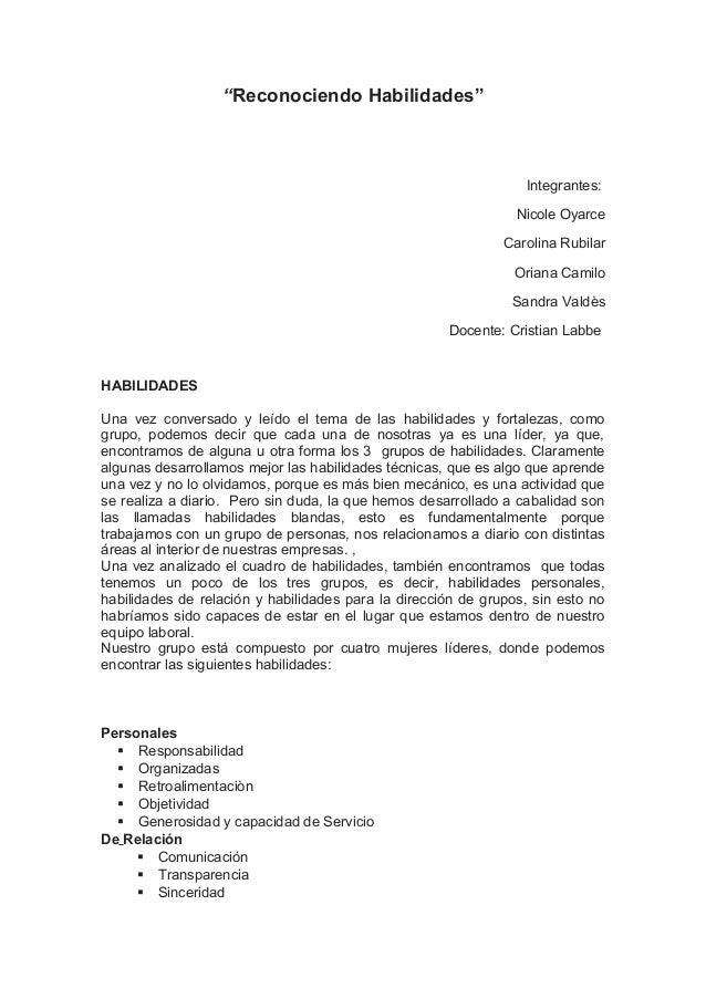 """Reconociendo Habilidades"" Integrantes: Nicole Oyarce Carolina Rubilar Oriana Camilo Sandra Valdès Docente: Cristian Labbe..."