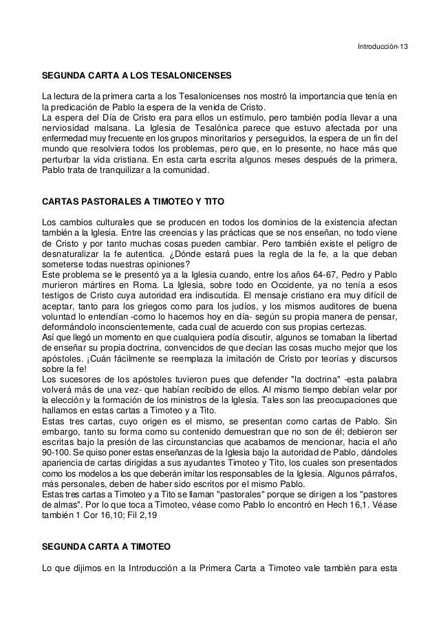 Introducción-13 SEGUNDA CARTA A LOS TESALONICENSES La lectura de la primera carta a los Tesalonicenses nos mostró la impor...