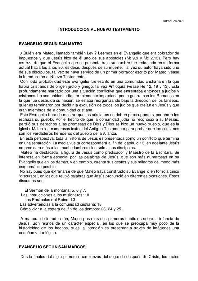 Introducción-1 INTRODUCCION AL NUEVO TESTAMENTO EVANGELIO SEGUN SAN MATEO ¿Quién era Mateo, llamado también Leví? Leemos e...